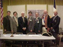 Chapter Officers pose with National Society PG and State President (L-R) Rich Fullam, Treasurer; Dennis Marr, Registrar; Duane Booth, President Jonathan Goebel, VP / Secretary; Bill Woodworth, ESSSAR President PG Henry McCarl and Acting Chaplain Henry Goebel, Jr.