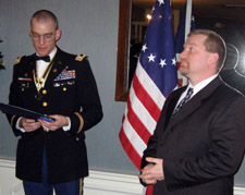 LTC Peter Goebel and Captain Brian Van De Wall, who receives his award for service in Iraq - Photo by Duane Booth
