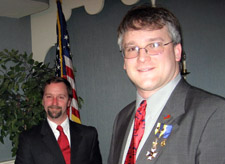 Brian McVeigh, our guest speaker and 1st Vice President Rich Fullam - Photo by Duane Booth