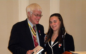 Past President Duane Booth and Schuyler Society President Lexi Zerrillo - Photo: Joyce Armstrong