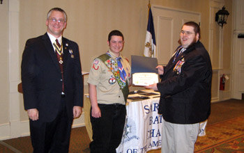 Pres. Fullam, Eagle Scout Chojecki and Col. Ray LeMay (KY) - Photo: Duane Booth