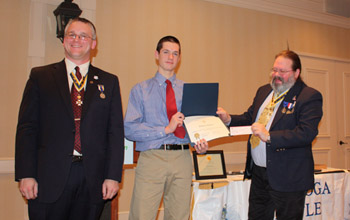 President Rich Fullam, Nathaniel Costello and Rick Saunders, Youth Contest Committee Chair - Photo: Rick Saunders