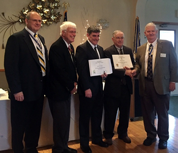 K(l-r) Saratoga Battle Chapter President Douglas Gallant, Past State President Duane Booth, Tyson J. Arnold, Larry J. Arnold and State President Hon. James M. Eagan.