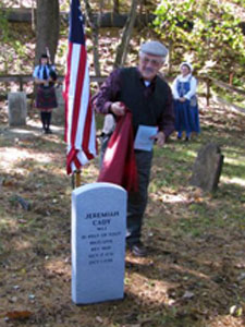 Descendant of Jeremiah Cady unveils the new gravestone - Photo courtesy of Rich Fullam