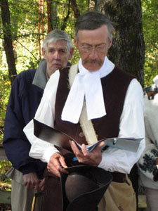 Phil Colarusso a re-enactor with 13th Reg., 4th Co., Albany Co. Militia offers a prayer