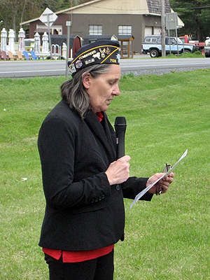 A historical perspective on the Battle of Fort Ann was provided by Christine Milligan, Fort Ann American Legion Commander.