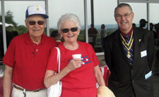 Saratoga Battle Chapter member Harry Taylor, his wife Ginny and President Ballard - Photo by Duane Booth