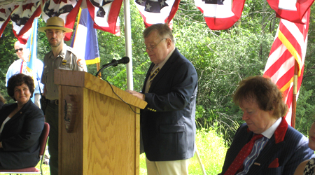 Chapter President Thomas L. Dunne speaks of his ancestor Jotham Bemus who owned this land during the Battles of Saratoga.