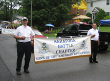 Saratoga Battle members Doug Reynolds (l) and Charlie Walter just prior to kickoff