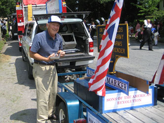 Walloomsac Battle Chapter President John Sheaff puts the finishing touches on our float.  John restored the sign at the request of Village of Schuylerville Mayor John Sherman.  The village DPW will place the sign near Fort Hardy Park.  Thanks John!