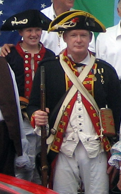 (l-r) Re-enactors Andrew with father Michael S. Companion of Saratoga Battle Chapter - Photo by Duane Booth