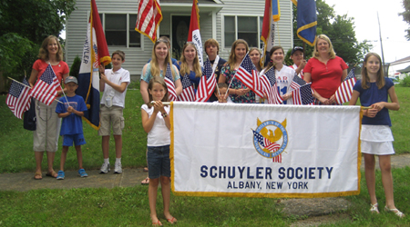Members of the Schuyler Society, CAR in the parade staging area