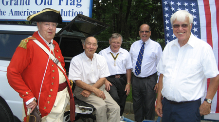 A few of the many that make the Turning Point Parade a success - (L-R) Brig. Gen. and WB V-P Paul Loding, WB President John Sheaff, SBC President Tom Dunne, VT Society President Douglass 'Tim' Mabee, SBC Past President Duane Booth