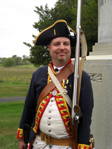 Bret Trufant stands guard at the DAR Monument. Bret is a re-enactor with the 2nd Continental Artillery and a Saratoga Battle Chapter member