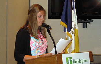 NYS C.A.R. President Abigail Mosher describing her state project -Dogs to Vets-