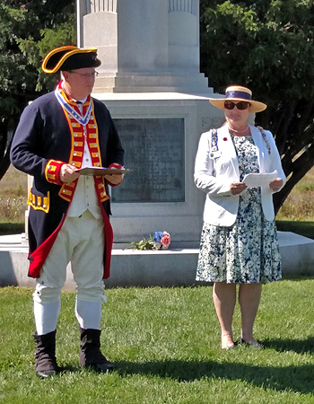 Saratoga Battle Chapter SAR President Douglas Gallant and Saratoga Chapter DAR Regent Heather Mabee welcome guests to the ceremony.